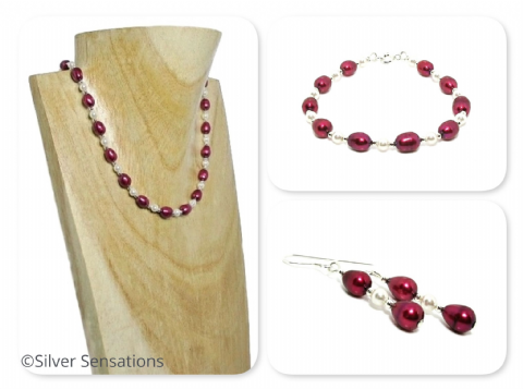 Unique Burgundy Freshwater Pearls Designer Necklace, Bracelet & Earrings Set